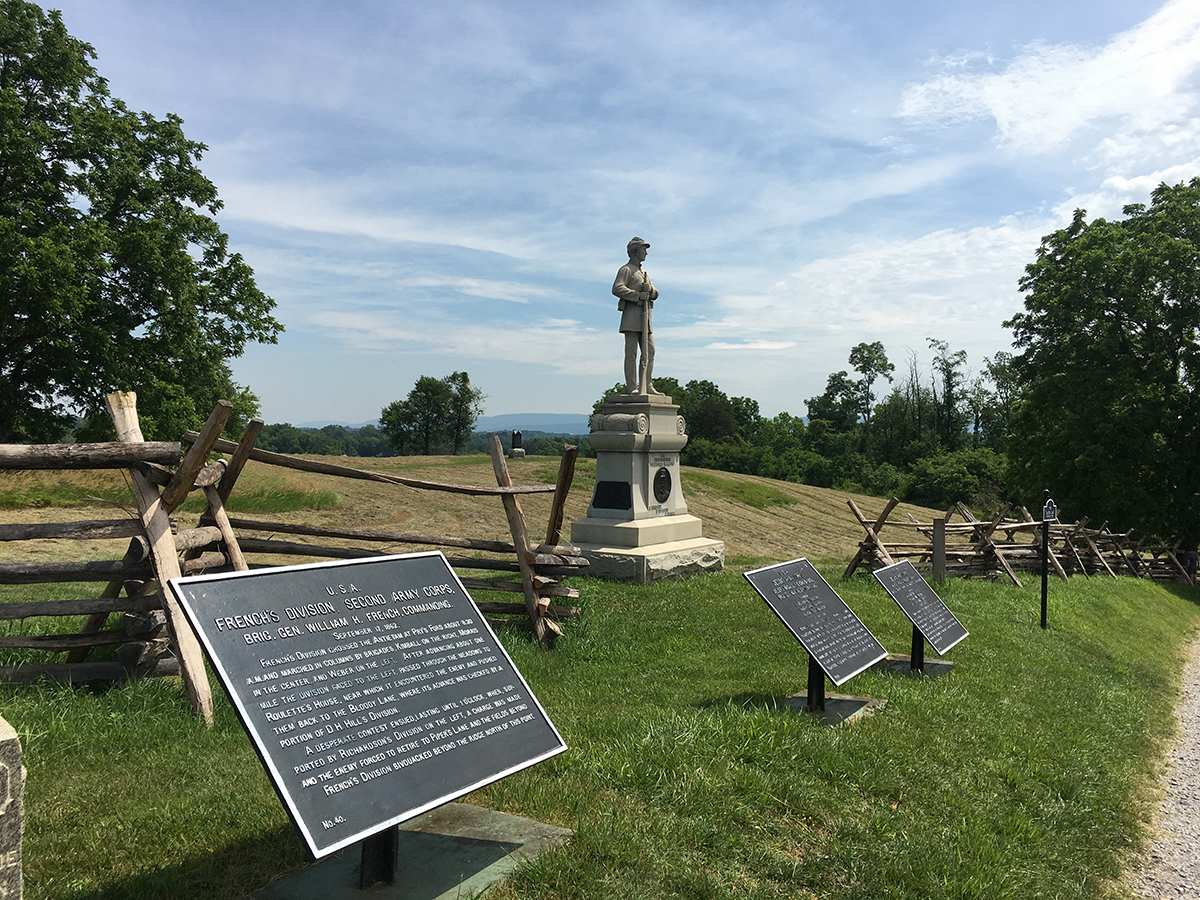 Antietam battlefield bike tour scene