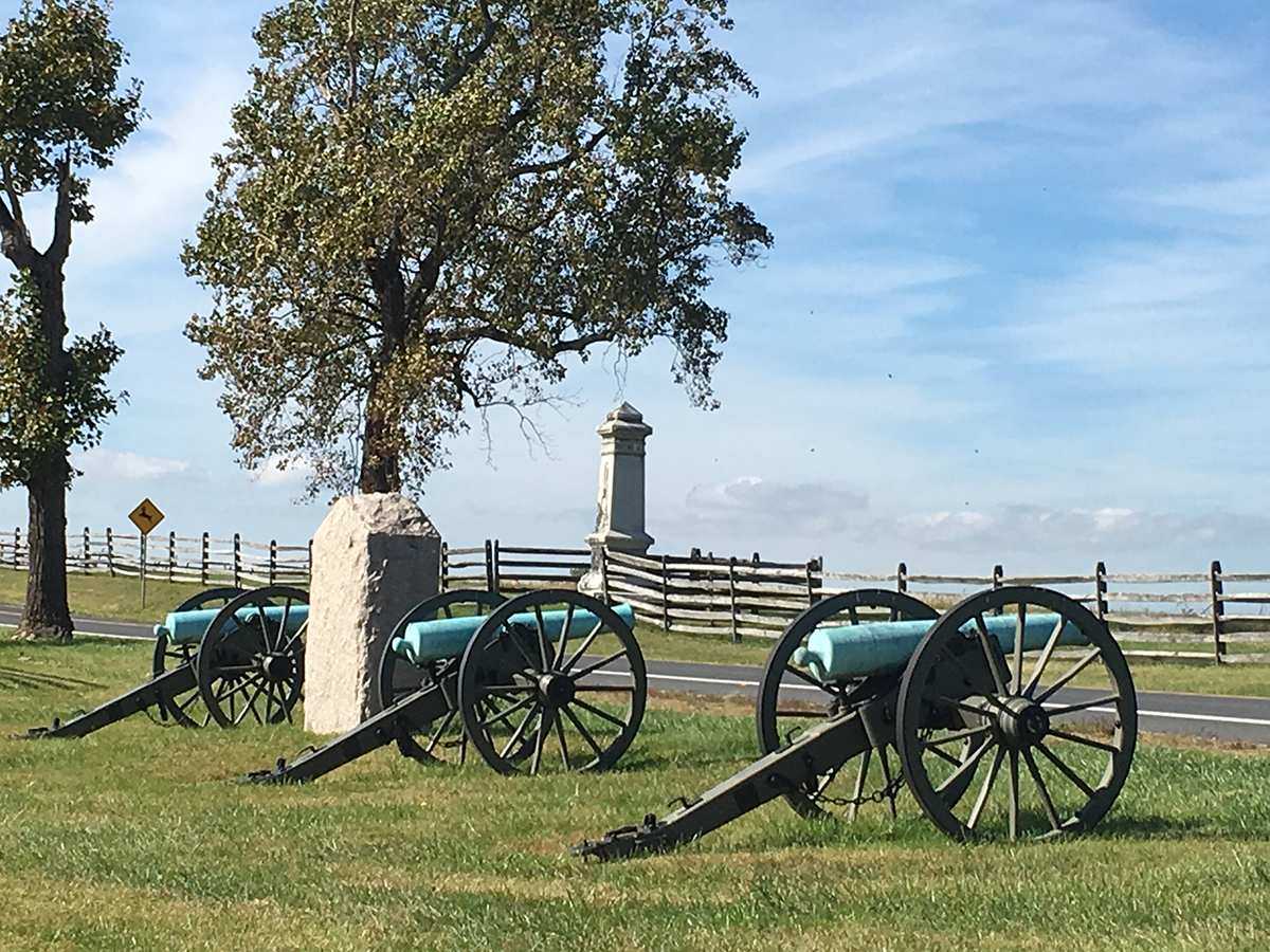 Union Cannons on Emmitsburg Road at The Peach Orchard