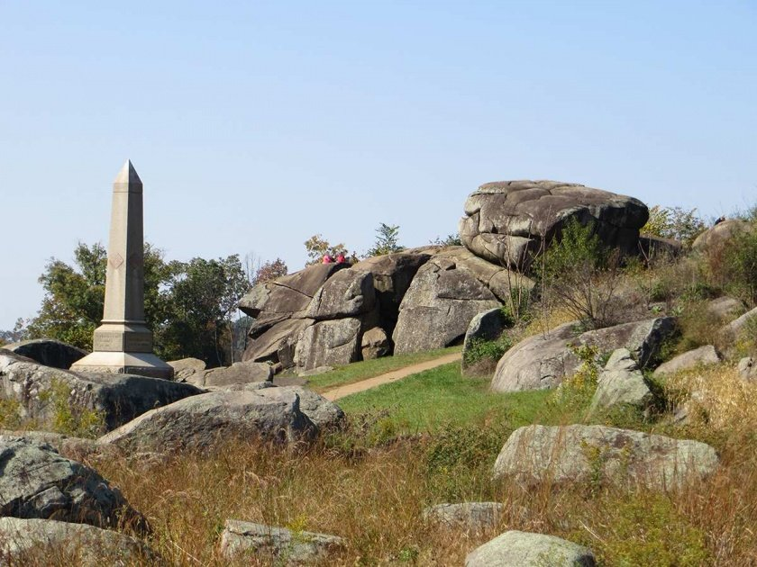 4th Maine monument among the boulders at Devil's Den