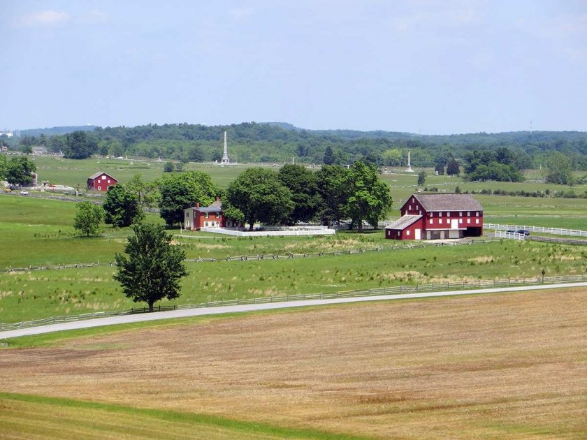 view of the Sherfy farm as seen from Warfield Ridge