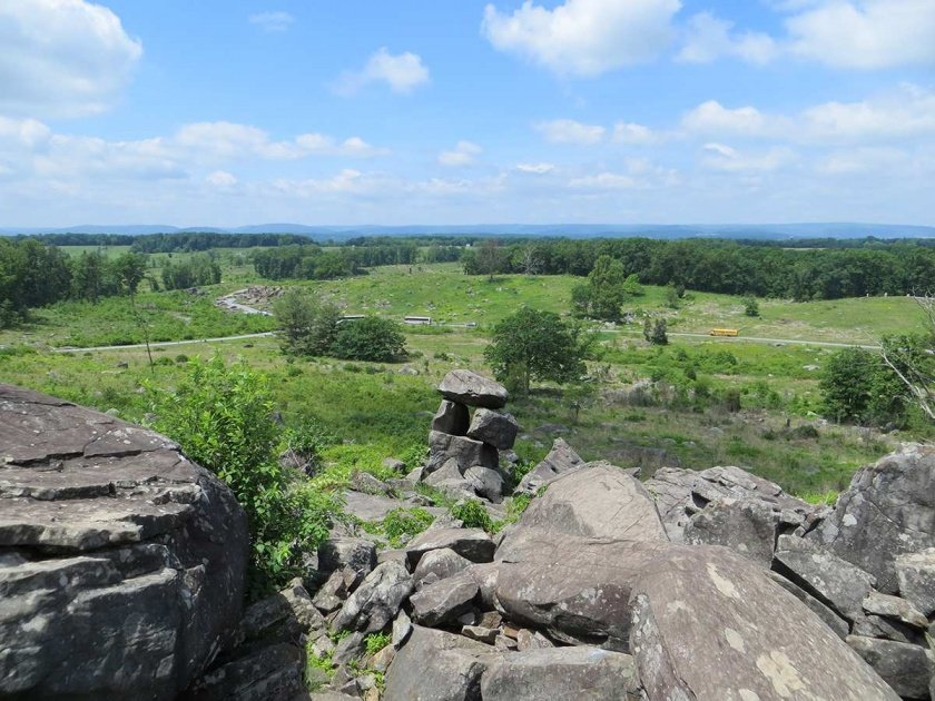 looking from Little Round Top to Devil's Den