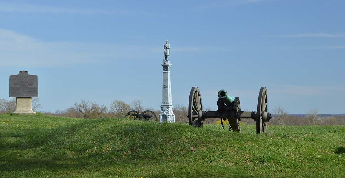 cannon on east cemetery hill pointing toward town