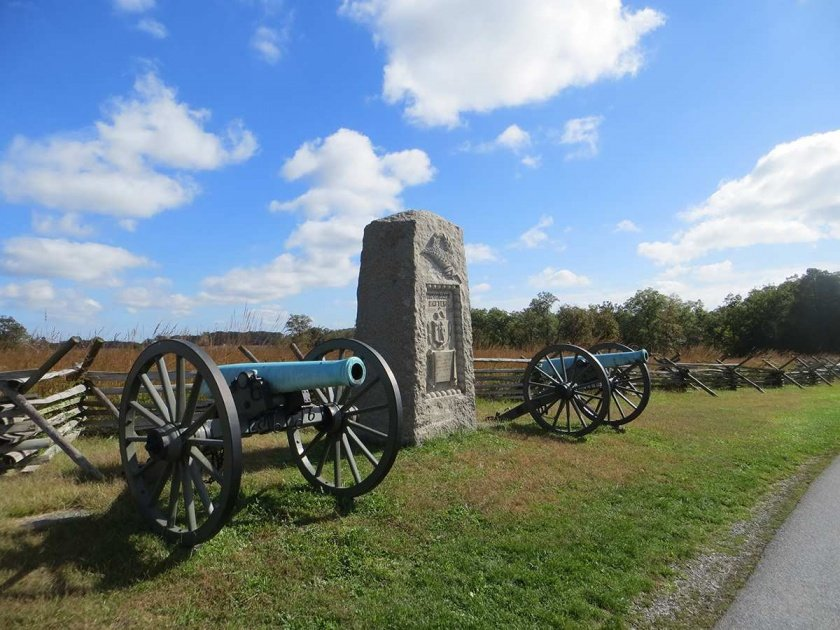 9th Massachussetts Battery Monument in the peach orcahrd